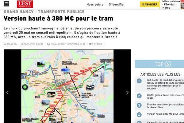 Est Républicain : version haute à 380 M€ pour le tram